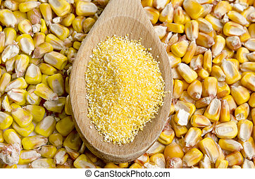 corn polenta on a wooden spoon