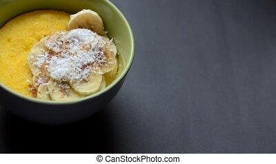Corn porridge polenta, hominy. Healthy breakfast concept....