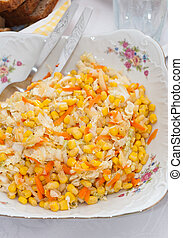 corn salad with vegetables on the table
