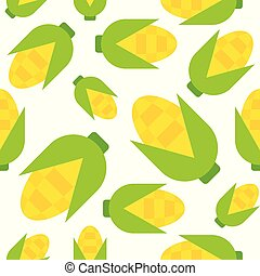 Corn seamless pattern, flat style vector illustration