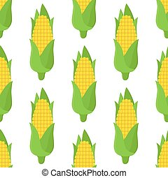 Corn seamless pattern, vegetarian food. Cartoon flat style. Vector illustration