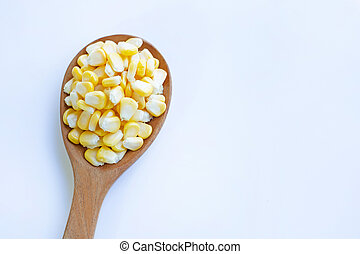 Corn seeds on white background