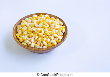 Corn seeds wooden bowl on white background