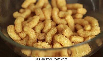 Corn Snacks Pour in a Glass Jar