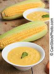Corn soup with fresh