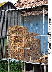 Corn storage, ideal for background - Corn storage in a silo,...