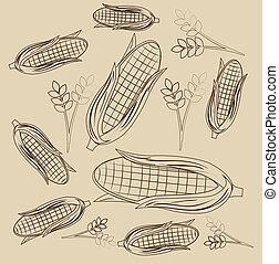 corn design over beige background vector illustration