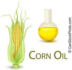 Corncob, oil flask isolated on white