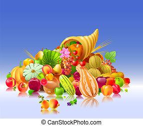 corne abondance, à, les, fruits légumes