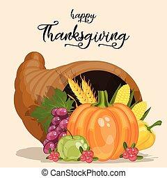 corne, heureux, cornucopia., thanksgiving, harvest., plenty., poster.