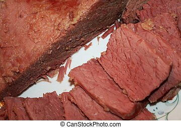 Corned beef Isolated slices & brisk - Corned beef brisket...