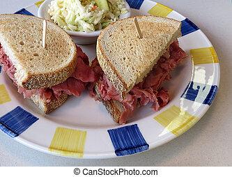 Corned Beef Sandwich - Corned beef sandwich on light rye...