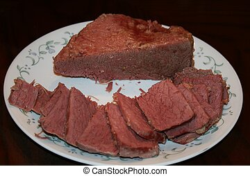 Corned beef sliced on plate brown b - A wonderful corned...