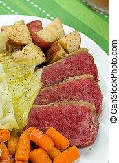 corned, carne de vaca, col