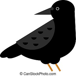 corneille, oiseau noir, vector., corbeau