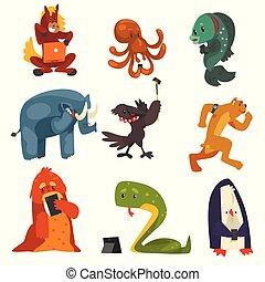 corneille, portables, chien, fish, animaux, sauvage, ensemble, illustration, gadgets, éléphant, vecteur, tablettes, poulpe, fond, smartphones, utilisation, blanc, manchots, serpent, cheval
