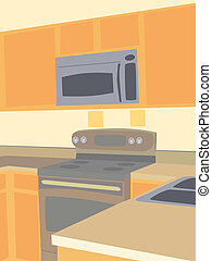 Corner angled view of empty kitchen - Brown Earth tone...