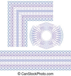 Corner, border and rosette. Guilloche elements on a white background.