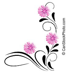 Corner decorative ornament with pink flowers