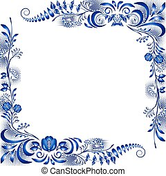 Corner design elements in the style of national porcelain painting. Template greeting card or invitation with blue flowers.