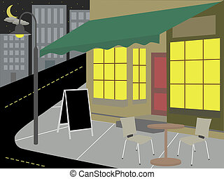 Storefront restaurant urban cityscape at night vector illustration