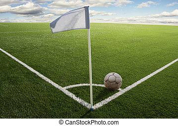 Corner flag on soccer field - Corner flag with ball on a...