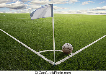 Corner flag on soccer field - Corner flag with ball on a...