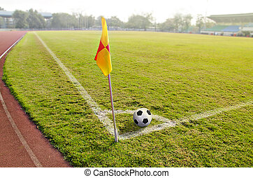 Corner flag with ball on a soccer