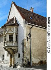 Corner House in the Old City of Szekesfehervar, Hungary