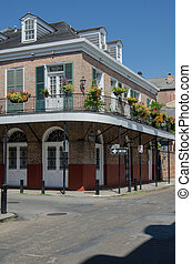 Corner in French Quarter - Quaint architecture in the French...