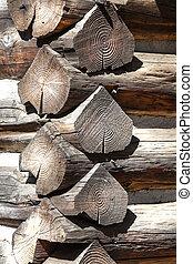 Corner of a cabin log structure