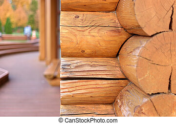 Corner of a wooden log house.