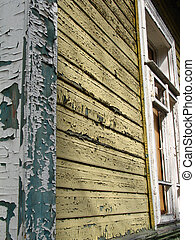 Corner of colored old house