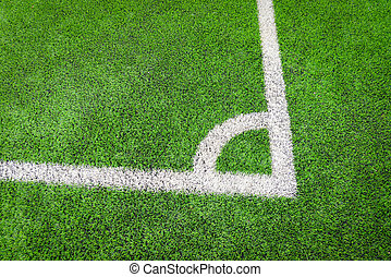 corner of footbal field / futsal or football field on green grass with center line corner top view