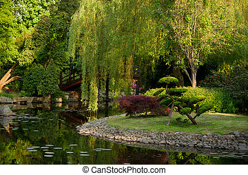 Corner of Japanese garden with a pond