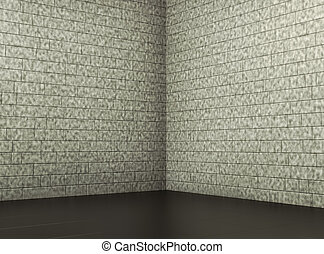 corner of old dirty room with grey brick wall. 3d render