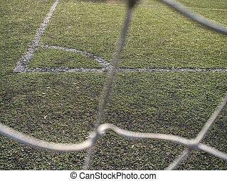 Corner of outdoor football or soccer training field