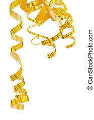 Corner of Striped Yellow Curly Hanging Down Party Streamers isolated on white background