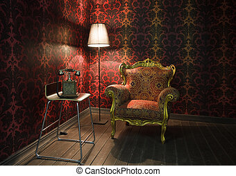corner of the room with red wallpaper, floor lamp and...
