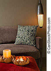 Corner of two seated sofa nice dark ambience