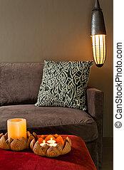 Corner of two seated sofa nice dark ambience