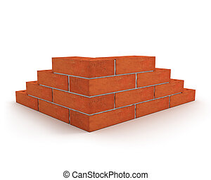 Corner of wall made from orange bricks isolated on white background