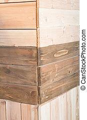 Corner of wooden texture background