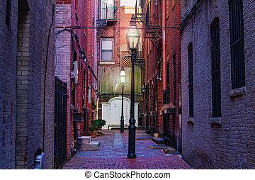 Corner on the street of Boston New England, MA USA