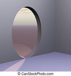 Corner Oval Abstract Door