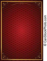 Corner patterns on red wallpaper
