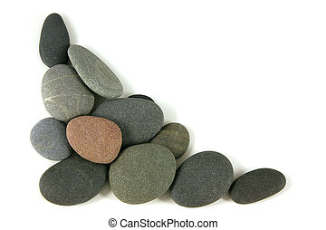 Corner pebbles - Round pebbles for a corner, over white
