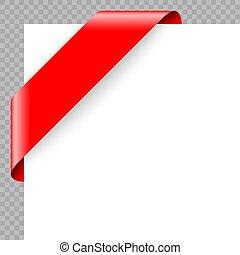 Corner ribbon or banner on white background.
