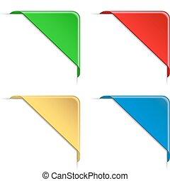 Corner Ribbons - Colorful Vector Corner Ribbons