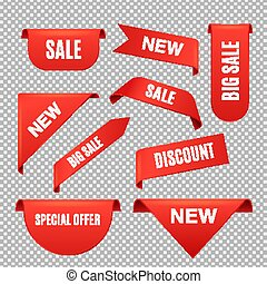 Corner sale ribbons and banners, realistic vector illustrations set isolated.